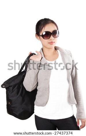 Beautiful asian woman on shopping - stock photo