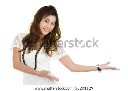 beautiful asian woman presenting whatever you want, isolated on white background - stock photo