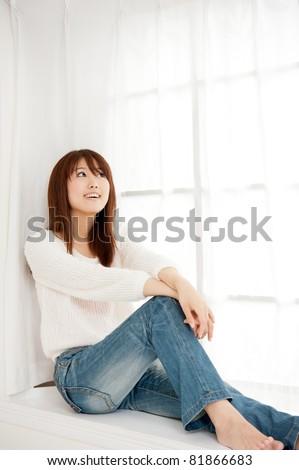 beautiful asian woman relaxing - stock photo