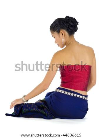 beautiful asian woman sitting, isolated on white background - stock photo