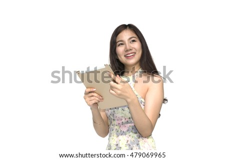 Beautiful asian woman using tablet isolated background
