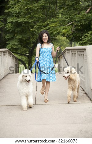 Beautiful Asian woman walking two dogs in the park - stock photo