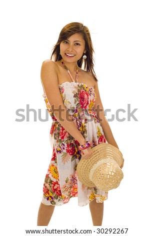 beautiful asian woman with straw hat in her hand, isolated on white - stock photo
