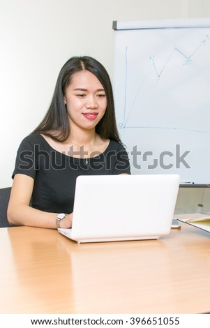 Beautiful asian woman working on a laptop