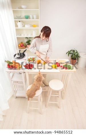 Beautiful Asian women, is being prepared for cooking in the kitchen along with the dog. - stock photo