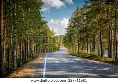 Beautiful asphalt road through forest with lakes on both sides. - stock photo