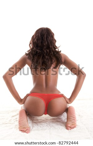 Beautiful ass buttocks of ethnic black Afro-American female - stock photo