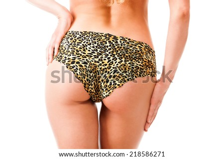 Beautiful ass of young woman. Rear view. Isolate on white background - stock photo