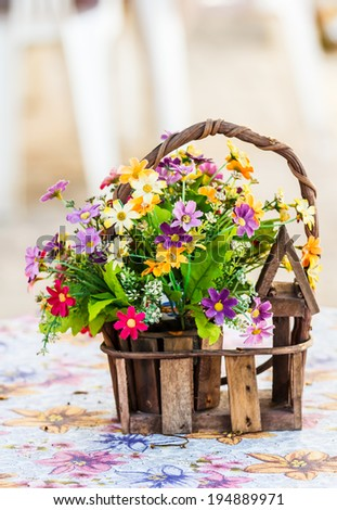 Beautiful aster flower bouquet on wooden table - stock photo