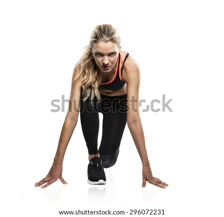 Beautiful athlete is waiting for the start signal - stock photo