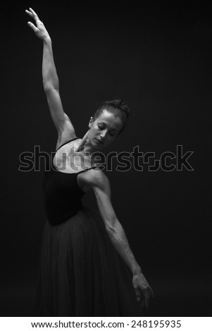 Beautiful athletic ballerina posing, Swan Lake Ballet  - stock photo