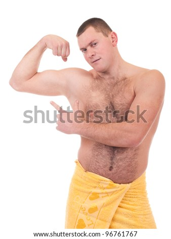 Beautiful athletic man in yellow towel on the white background - stock photo