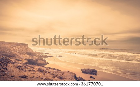 Beautiful Atlantic Ocean landscape somewhere between Agadir and Essaouira, Morocco - stock photo