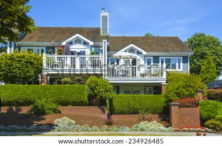 Beautiful attached houses in British Columbia, Canada. - stock photo