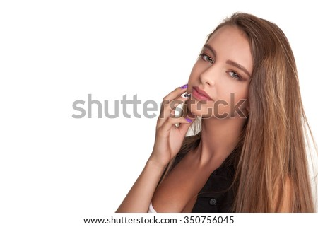 Beautiful Attractive Young Teenage Woman Looking At Camera White Background