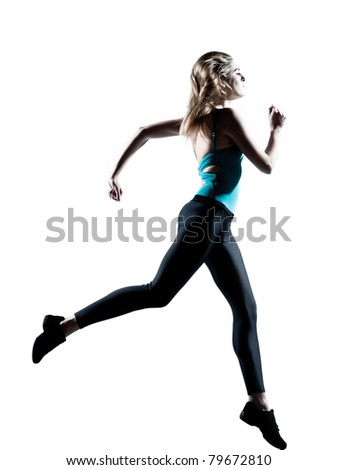 Beautiful attractive young woman running on white background - stock photo