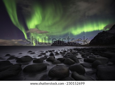 Beautiful aurora over the Lofoten islands, Norway - stock photo