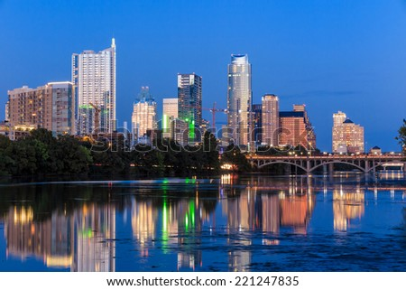 Beautiful Austin skyline reflection at twilight, Texas - stock photo