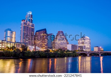 Beautiful Austin skyline reflection at twilight, Texas