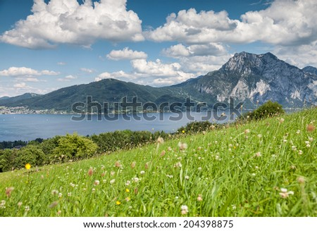 Beautiful Austrian landscape in Traunsee - stock photo