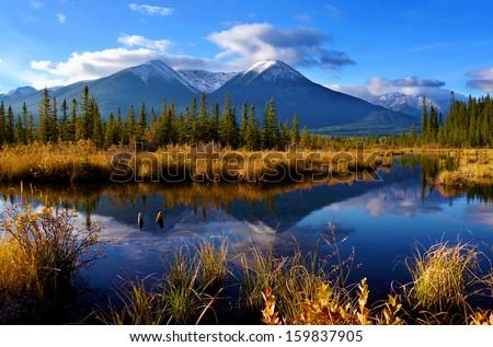 Beautiful autumn Canadian Landscape, Jasper National Park, Alberta, Canada - stock photo