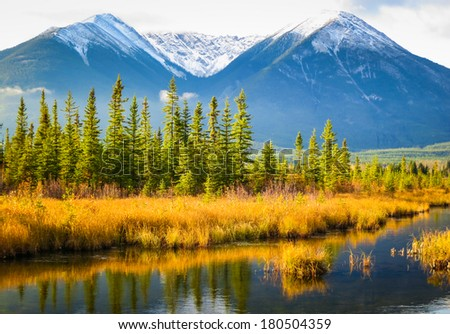 Beautiful autumn Canadian Landscape, Jasper National Park, Alberta, Canada - stock photo