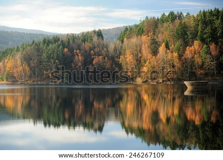 Beautiful autumn colors of the forest near the lake