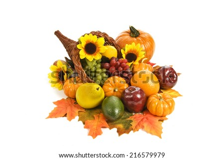 Beautiful Autumn Cornucopia/ Isolated On White/ Horizontal Shot/ Bountiful Harvest/ Thanksgiving - stock photo