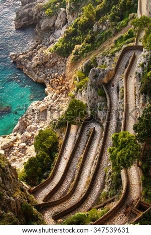 Beautiful autumn day at Via Krupp, on the coast of  Mediterranean Sea  - Capri Island ,Italy - stock photo