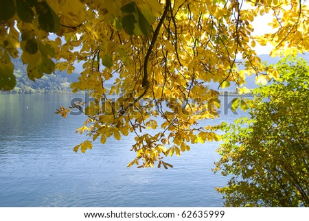 "Beautiful autumn day in ""Zell am See"" Austria - stock photo"