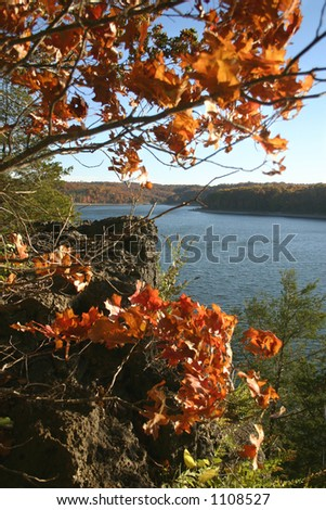 Beautiful autumn evening on Table Rock Lake in the Ozarks of southern Missouri. - stock photo