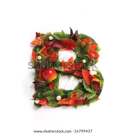 Beautiful Autumn Flower Alphabet - stock photo