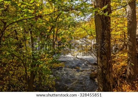 Beautiful Autumn foliage with waterfall and stream. - stock photo