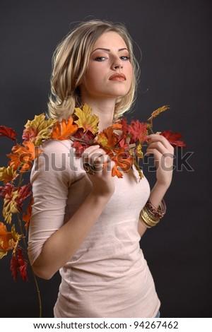 Beautiful Autumn Girl and make up - stock photo