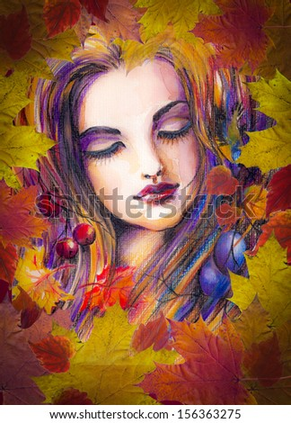Beautiful autumn girl with leaves on her head.Picture created from imagination with watercolors and colored pencils.