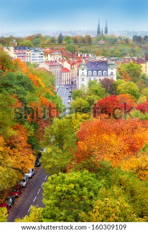 Beautiful autumn in the capital of Czech Republic - stock photo