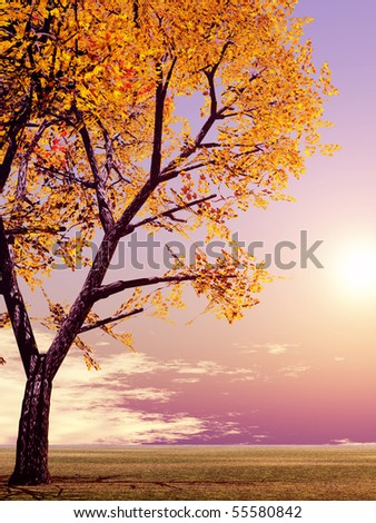 Beautiful autumn landscape - stock photo