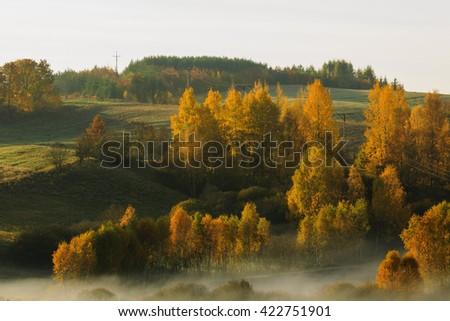 Beautiful Autumn Landscape Misty Fields In North Poland/ Beautiful Autumn Landscape Misty Fields - stock photo
