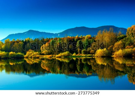 beautiful autumn landscape with reflecting bright trees - stock photo