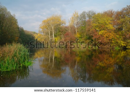 Beautiful autumn landscape with yellow tree on coast of the river and reflection in water - stock photo