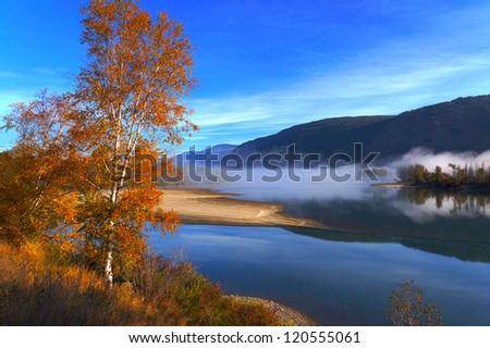 Beautiful autumn morning at the Thompson river, British Columbia, Canada - stock photo