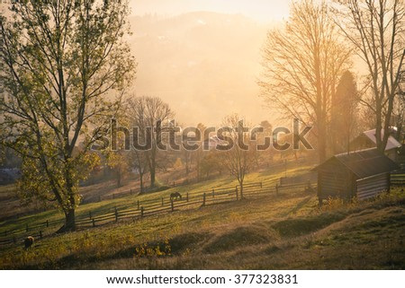 Beautiful autumn mountain landscape with trees in the foreground - stock photo