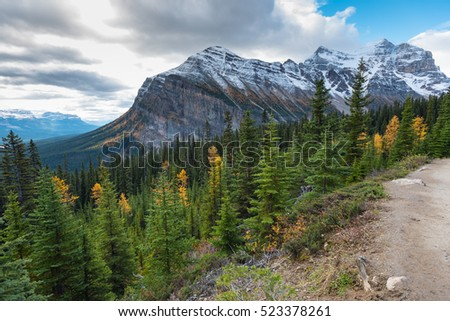 Beautiful autumn mountain views of the hike to the historic Lake Agnes Tea House in Banff National Park in the Rocky Mountains of Alberta Canada