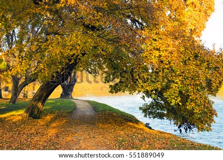 Beautiful autumn nature by the river Krka, Slovenia