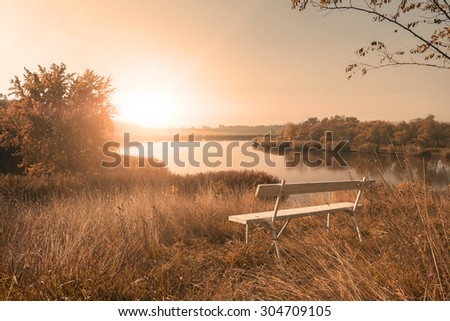 Beautiful autumn nature scene in sunset - stock photo