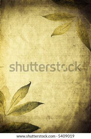 Beautiful autumn organic background. Leaves mixed with textured old paper