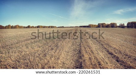 Beautiful autumn panorama in a sunny day with mowed field - stock photo