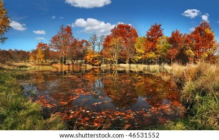 beautiful autumn scenery with lake - stock photo