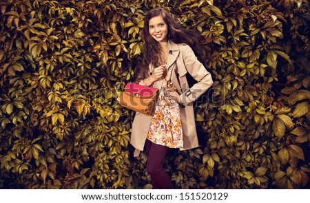 Beautiful autumn woman holding handbag against leaves  - stock photo