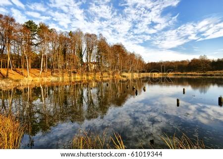 Beautiful autumnal lake - stock photo